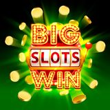 Big win slots 777 banner casino. Big win slots 777 banner casino, fly coins background. Vector illustration Stock Photography