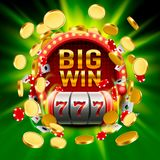 Big win slots 777 banner casino. Vector illustration Royalty Free Stock Photo