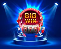 Big win slots 777 banner casino. Vector illustration royalty free illustration