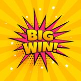 Big win surprise banner in comic style. Vector stock illustration