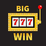 Big win text Slot machine. Glowing lamp light. 777 Jackpot. Lucky sevens. Red handle lever. Online casino, gambling club sign symb Royalty Free Stock Photos