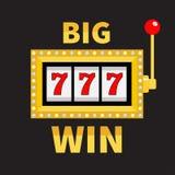 Big win text Slot machine. Glowing lamp light. 777 Jackpot. Lucky sevens. Red handle lever. Online casino, gambling club sign symb. Ol. Flat design. Black Royalty Free Stock Photos