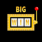 Big win text. Slot machine. Golden glowing lamp light. Red handle lever. Online casino, gambling club sign symbol. Flat design. Bl Stock Image