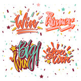 Big win winner text writing and vector lettering Stock Images