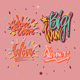 Big win you winner inscriptions with burst of confetti papers Royalty Free Stock Images