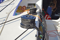 Sailing Boats Yachting Big Winch Team Vestas Wind Yacht Royalty Free Stock Photography