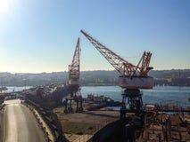 Goldenhorn Shipyard Winches Unkapanı Bridge Istanbul. Big Winches in The Shipyard Near The Goldenhorn and Unkapanı Bridge Highway Traffic Royalty Free Stock Photo