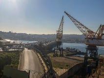 Goldenhorn Shipyard Winches Unkapanı Bridge Sunny Day. Big Winches in The Shipyard Near The Goldenhorn and Unkapanı Bridge Highway Traffic & Sunny Day on Stock Images