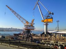 Goldenhorn Shipyard Winches Istanbul. Big Winches in The Shipyard Waiting New Job near The Goldenhorn and Unkapanı Bridge Royalty Free Stock Images