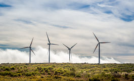 Big wind generators in the mountains of Madeira island Royalty Free Stock Photography