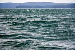 Big wind and waves on the water. A big wind raises the waves on the water of the lake, close-up royalty free stock photography