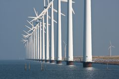 Big windmills along the Dutch coast Stock Photo
