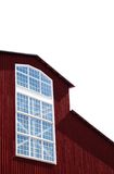 Big window. Cutout of red barn with big window on white background Royalty Free Stock Photo
