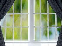Big window with black curtains. Royalty Free Stock Photography