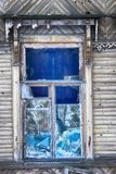Big window with blue glass destruction Stock Photography