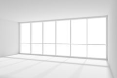 Big window in empty white room with sunlight from. Business architecture white colorless office room interior - big window empty white business office room with Royalty Free Stock Photos