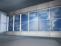 Big window and fly plane. Big white window and fly plane Royalty Free Stock Photos