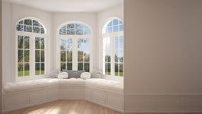 Big window with garden meadow panorama, minimalist empty space, Royalty Free Stock Image