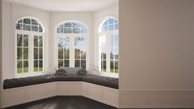 Big window with garden meadow panorama, minimalist empty space, Stock Photo