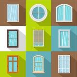 Big window icons set, flat style. Big window icons set. Flat set of 9 big window vector icons for web with long shadow royalty free illustration