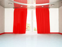 A big window and the red curtain, Royalty Free Stock Photo