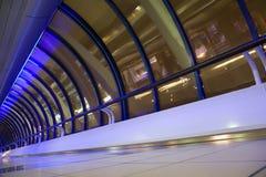 Big windows in corridor in modern building Stock Images