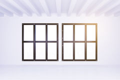 Big windows in light empty room with white walls and floor Royalty Free Stock Images