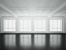 Big windows in open space interior. 3d rendering Stock Photography