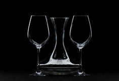 Big Wine Glasses and Decanter Royalty Free Stock Image