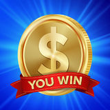 Big Winner Poster Vector. You Win. Dollar Golden Coin With Red Ribbon. Stock Photos