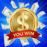 Big Winner Poster Vector. You Win. Dollar Golden Coin With Red Ribbon. Stock Images