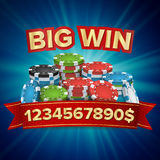Big Winner Poster Vector. You Win. Gambling Poker Chips Stacks With Red Ribbon. Royalty Free Stock Images