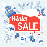 Big winter christmas sale design template with hat, glowes and sale tags discount. Big winter christmas sale design template with hat, glowes and sale tags royalty free illustration