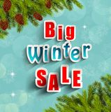 Big winter sale background banner and christmas tree Royalty Free Stock Photos