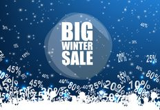 Big winter sale banner over blue background with discount Royalty Free Stock Images