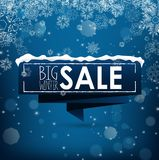Big winter sale banner over blue background with snow and snowflakes Stock Photography