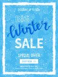 Big winter sale banner, poster, flyer template in snow frame with blue snowflakes background. Special seasonal offer. Discount. Up to 50%. Hand drawn lettering Royalty Free Stock Images