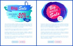 Big Winter Sale Best Choice Web Posters Hang Tags. Big winter sale discount 20 offer best choice hanging label on thread isolated on blue brush strokes vector Stock Photography