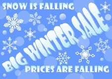 Big winter sale billboard, snow is falling, prices are falling.  Royalty Free Stock Photography