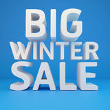 Big winter sale. On blue background Royalty Free Stock Image