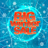 Big winter sale on blue background. Vector illustration. Royalty Free Stock Photo