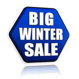 Big winter sale in 3d blue hexagon banner. With white text, business seasonal concept Royalty Free Stock Photos