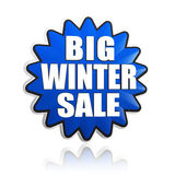 Big winter sale in 3d blue star banner. With white text, business seasonal concept Stock Image