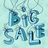 Big winter sale design poster. With cartoon hand drawn letters Stock Photography