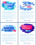 Big Winter Sale Discount Off New Offer Posters Set. Big winter discount - 30 off new offer -25 only today -70 total final sale set of labels with snowflakes Stock Image