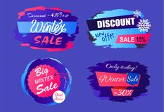 Big Winter Sale Discount Off new Offer Tags Set. Big winter sale discount - 45 off new offer -15 only today -30 hanging round tag set of labels with brush Royalty Free Illustration