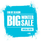 Big Winter Sale. End of season special offer banner with brush stroke background. Stock Photography
