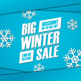 Big Winter Sale. End of season special offer banner, discount up to 50% off. Stock Images