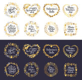 Big Winter Sale and Happy Valentine s Day Set. Of labels on white and black backgrounds. Handwritten calligraphy inscriptions in heart and circle shapes. Vector Royalty Free Stock Images