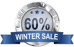 60% big winter sale icon Stock Images